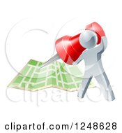 Clipart Of A 3d Silver Man Pinning A Location On A Map Royalty Free Vector Illustration