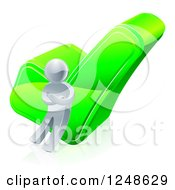 Clipart Of A 3d Silver Man Leaning Against A Green Check Mark Royalty Free Vector Illustration by AtStockIllustration