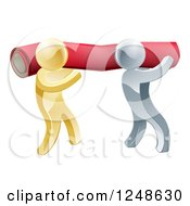 Clipart Of 3d Silver And Gold Carpet Installers Carrying A Roll Royalty Free Vector Illustration
