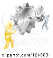 Clipart Of 3d Gold And Silver Men Connecting Two Giant Gear Cogs Royalty Free Vector Illustration by AtStockIllustration