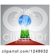 Clipart Of 3d The Future Text Over A Keyhole Door And Red Carpet Royalty Free Vector Illustration