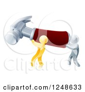 Clipart Of 3d Gold And Silver Men Carrying A Giant Hammer Royalty Free Vector Illustration