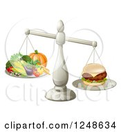 Clipart Of A 3d Silver Scale Comparing A Cheeseburger To Produce Royalty Free Vector Illustration