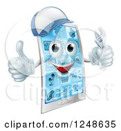 Clipart Of A 3d Smart Phone Character Wearing A Hat Holding A Thumb Up And A Wrench Royalty Free Vector Illustration