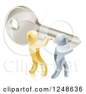 Clipart Of 3d Gold And Silver Men Holding Up A Giant Key Royalty Free Vector Illustration
