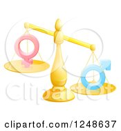 Clipart Of A 3d Gold Scale Balancing Gender Symbols Royalty Free Vector Illustration by AtStockIllustration