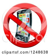 Clipart Of A 3d Smart Phone In A Restricted Symbol Royalty Free Vector Illustration