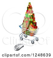 Clipart Of A 3d Online Shopping Cart With Christmas Presents Royalty Free Vector Illustration