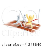 Clipart Of 3d Gold And Silver Men Racing On A Track Royalty Free Vector Illustration