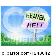 Clipart Of 3d Heaven Or Hell Arrow Signs Over Hills And A Sunrise Royalty Free Vector Illustration