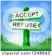 Clipart Of 3d Accept Or Refuse Arrow Signs Over Hills And A Sunrise Royalty Free Vector Illustration