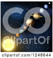Clipart Of A Solar System Layout Of Planets In Outer Space Royalty Free Vector Illustration by AtStockIllustration