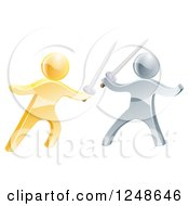 Clipart Of 3d Gold And Silver Men Engaged In A Sword Fight Royalty Free Vector Illustration