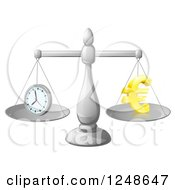 Clipart Of A 3d Scales Balancing Time And Money As A Euro Symbol Royalty Free Vector Illustration