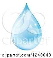 Clipart Of A 3d Blue Water Drop With Reflections Royalty Free Vector Illustration