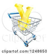 Clipart Of A 3d Gold Yen With A White Outline In A Shopping Cart Royalty Free Vector Illustration by AtStockIllustration