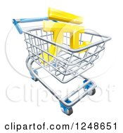 Clipart Of A 3d Gold Yuan Currency Symbol In A Shopping Cart Royalty Free Vector Illustration