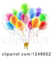 Clipart Of 3d Colorful Party Balloons With A Gift Bow Royalty Free Vector Illustration by AtStockIllustration