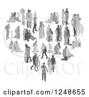Clipart Of A Grayscale Heart Made Of Silhouetted Family Memebers In Different Poses Royalty Free Vector Illustration by AtStockIllustration