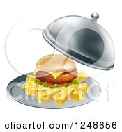 Clipart Of A Cheeseburger And Fries On A Cloche Platter Royalty Free Vector Illustration by AtStockIllustration