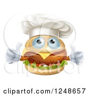 Clipart Of A Cheeseburger Chef Character Holding Two Thumbs Up Royalty Free Vector Illustration