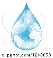 Clipart Of A 3d Blue Water Drop Earth With Reflections Royalty Free Vector Illustration