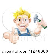 Poster, Art Print Of Happy Blond Carpenter Man Holding A Hammer And Thumb Up Over A Sign