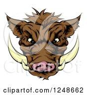 Aggressive Boar Mascot Face