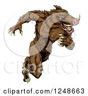 Clipart Of A Muscular Aggressive Boar Mascot Running Upright Royalty Free Vector Illustration