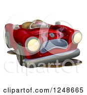 Clipart Of A Red Car Character Broken Down With Oil Royalty Free Vector Illustration