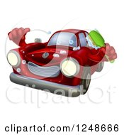 Red Car Character Holding A Brush And Thumb Up