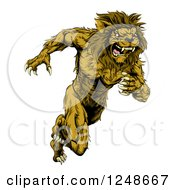 Clipart Of A Muscular Male Lion Mascot Running Upright Royalty Free Vector Illustration