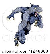Clipart Of A Muscular Panther Mascot Running Upright Royalty Free Vector Illustration by AtStockIllustration