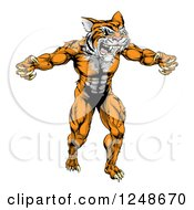 Clipart Of A Muscular Tiger Mascot Running Upright Royalty Free Vector Illustration by AtStockIllustration