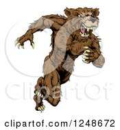 Clipart Of A Snarling Muscular Bear Mascot Running Upright Royalty Free Vector Illustration