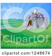 Clipart of a Medieval Castle in a Valley with Sunshine in the Distance - Royalty Free Vector Illustration by AtStockIllustration