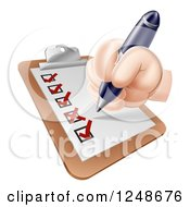 Clipart Of A Hand Filling Out A Survey On A Clipboard Royalty Free Vector Illustration by AtStockIllustration