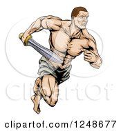 Clipart Of A Muscular Gladiator Running With A Sword Royalty Free Vector Illustration by AtStockIllustration