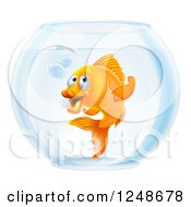 Clipart Of A Goldfish Gesturing To Follow In A Bowl Royalty Free Vector Illustration