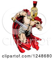 Clipart Of A Strong Spartan Trojan Warrior Mascot Running With A Sword Royalty Free Vector Illustration