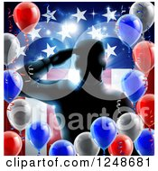 Silhouetted Male Military Veteran Saluting Over An American Flag And Balloons