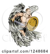 Clipart Of A Muscular Warrior Angel With A Sword And Shield Royalty Free Vector Illustration by AtStockIllustration