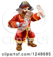 Clipart Of A Pirate Captain With A Hook Hand And Treasure Map Royalty Free Vector Illustration