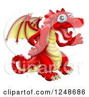 Clipart Of A Friendly Waving Red And Yellow Dragon Royalty Free Vector Illustration by AtStockIllustration