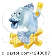 Clipart Of A Happy Blue Cod Fish And Chips Fries Royalty Free Vector Illustration by AtStockIllustration