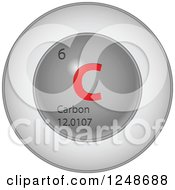 3d Round Red And Silver Carbon Chemical Element Icon