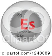 Clipart Of A 3d Round Red And Silver Einsteinium Chemical Element Icon Royalty Free Vector Illustration
