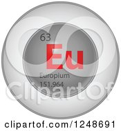 Clipart Of A 3d Round Red And Silver Europium Chemical Element Icon Royalty Free Vector Illustration