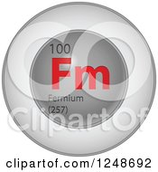 3d Round Red And Silver Fermium Chemical Element Icon