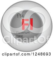 Clipart Of A 3d Round Red And Silver Flerovium Chemical Element Icon Royalty Free Vector Illustration